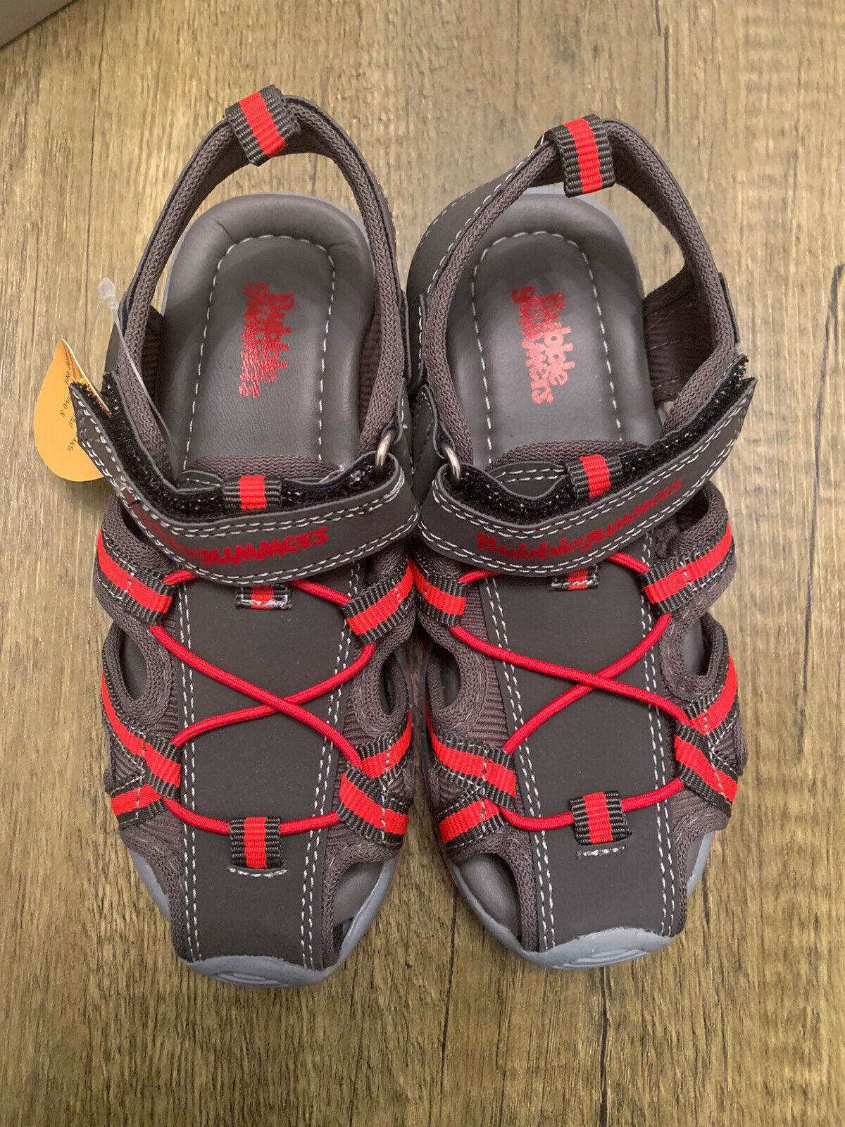 BOYS SANDALS SHOES BRAND NEW SIZE 12 KIDS GREY RED SUMMER WALKING CLOSED TOE