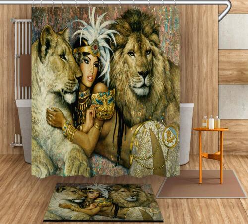 "Egypt Cleopatra Lions Bathroom Fabric Shower Curtain /& Mat Rug/&12Hook Set 72//79/"""