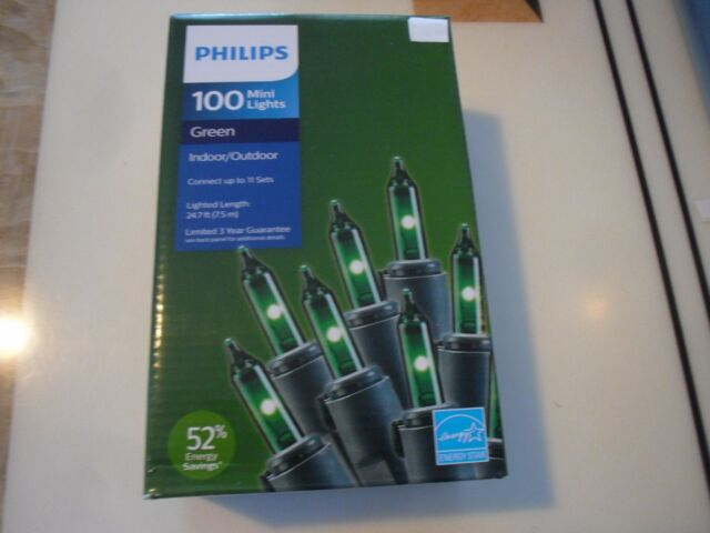 100pk philips green mini lights green wire 247ft energy save