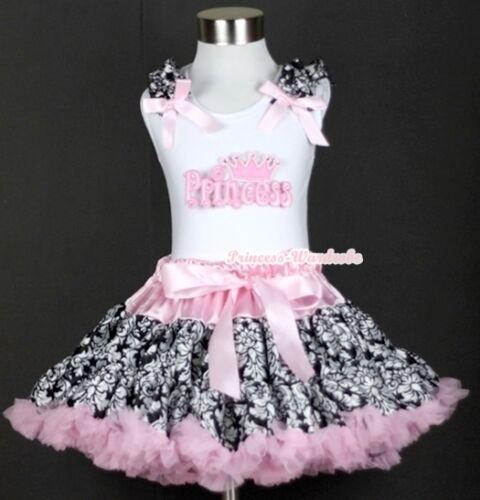 Light Pink Damask Pettiskirt Dress Light Pink Princess Ruffles Bows Top Set 1-8Y
