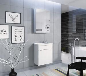 Details zu 2 tlg. Badmöbel Set MIA Gäste WC Waschbecken Waschtisch  Spiegelschrank Weiß