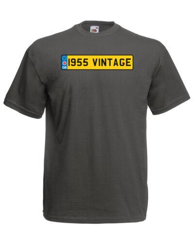 1955 Vintage Plaque anniversaire graphique Qualité T-Shirt Tee Homme Unisexe