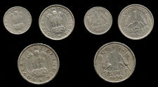 "RARE ""1950"" REPUBLIC INDIA  1/4, 1/2 & 1 RUPEE 3 Coin Set L@@K VERY NICE"