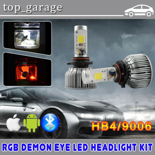 NSSC 9006 HB4 LED Headlight Low Beam Kit w// RGB Demon Eye Bluetooth APP Control