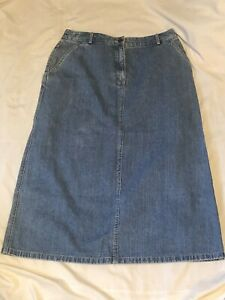 LL-BEAN-Straight-Blue-Cotton-Denim-Jean-Skirt-Womens-size-12-Petite