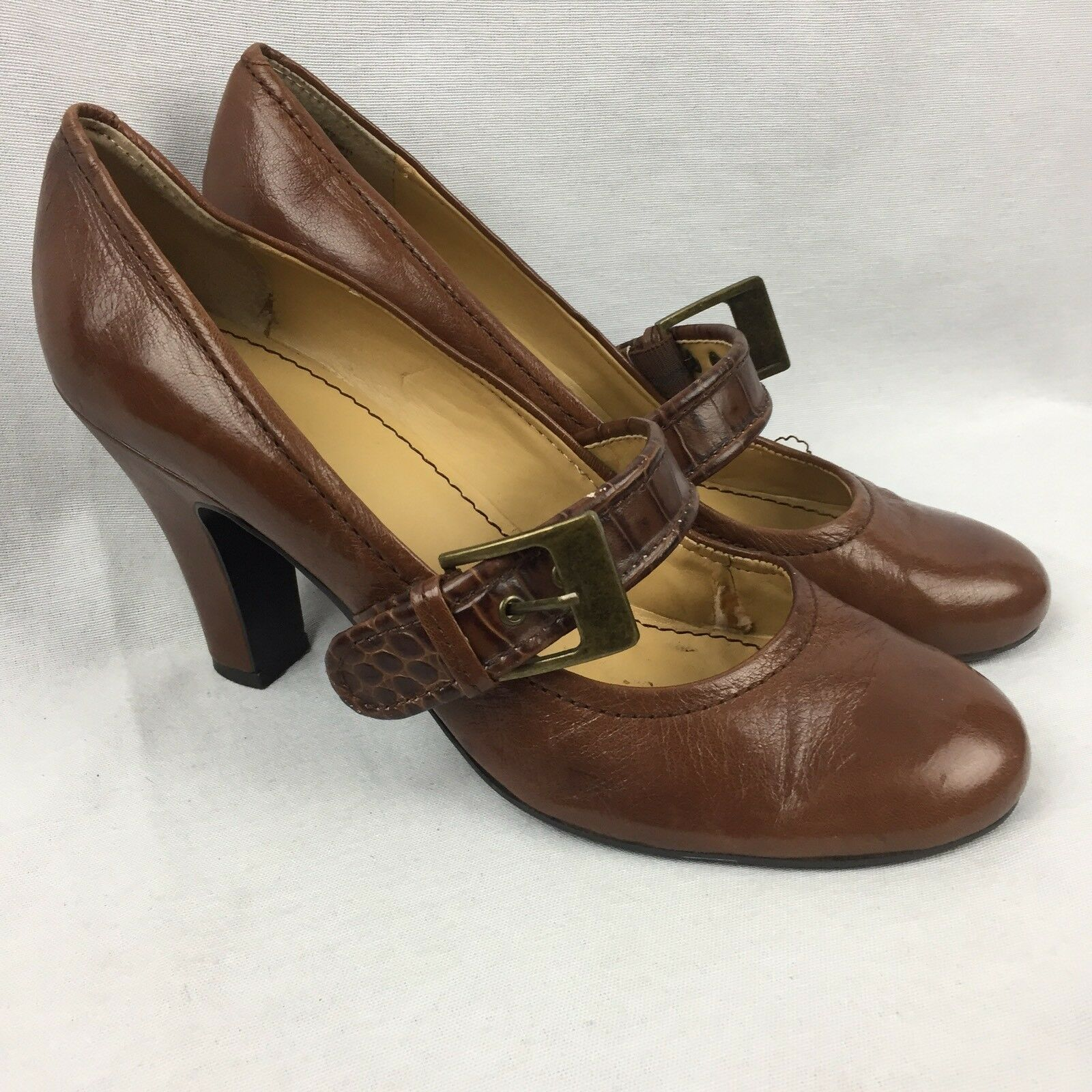 NINE WEST 'DELROY' Brown Leather 9.5 Mary Jane Buckle Size 9.5 Leather M 3.75 INCH HEEL 57359d