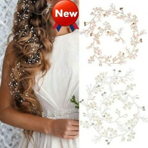 100-150cm-Pearls-Wedding-Hair-Vine-Crystal-Bridal-Accessories-Diamante-Headpiece