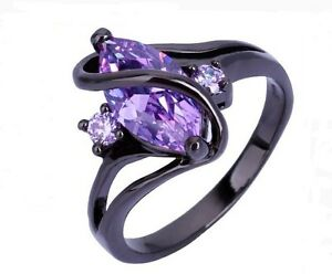Image Is Loading Women Gothic Black Gold Ring Purple Cz Stone
