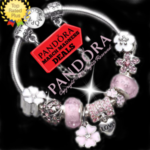Authentic Pandora Charm Bracelet Silver Pink Flowers With European Charms New Ebay