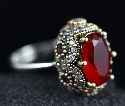 Turkish Handmade Jewelry Sterling Silver 925 Ruby Mix Ladies Ring 6,7,8,9
