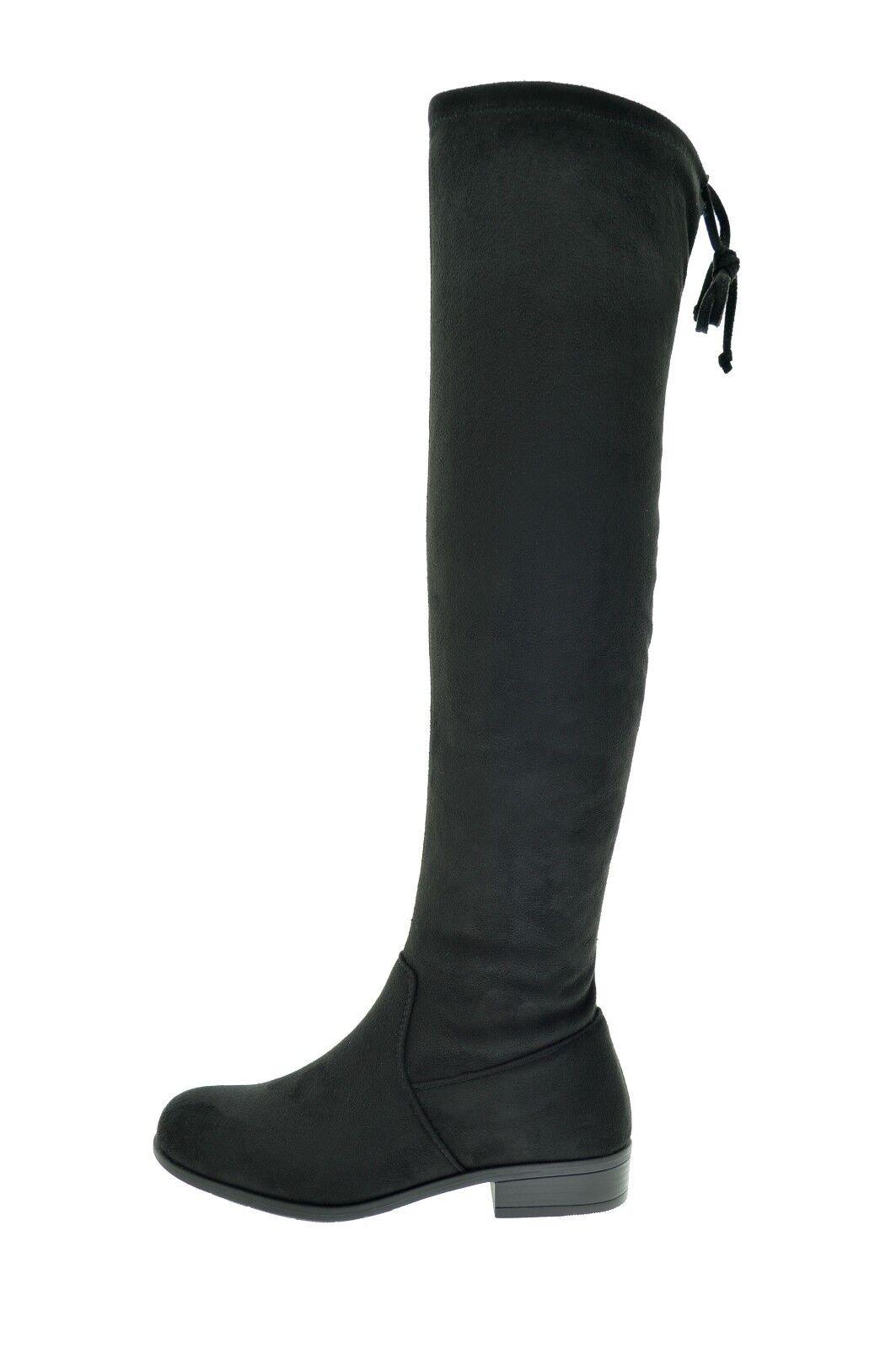 scarpe di separazione 06c2a c43b1 Dettagli su Stivali neri scamosciati alti donna stivale invernale camoscio  tacco basso lacci