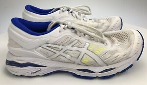 Details about Women's 9 B 40.5 - Asics Gel Kayano 24 Running Shoes White  Yellow Blue T799N