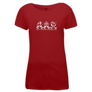 Damen-T-Shirt-Drei-Affen-Funny-Style-Apes-Sit
