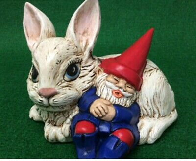 Gnome Sleeping on Bunny Rabbit Ready to Paint Unpainted Ceramic Bisque
