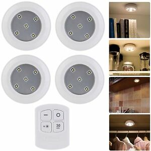Set of 4 wireless remote control led puck lights night cabinet image is loading set of 4 wireless remote control led puck aloadofball Gallery