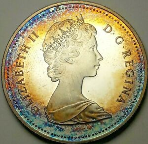 1981-CANADA-1-ONE-SILVER-DOLLAR-PROOF-GORGEOUS-RAINBOW-COLOR-GEM-TONED-UNC-DR