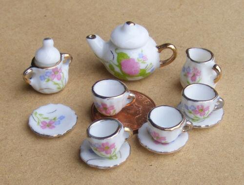 1:12 Scale 11 Piece Ceramic White /& Pink Floral Tea Set Tumdee Dolls House RO7