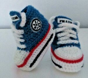 BABY CROCHET SHOES YOUR BABY/'S NAME HANDMADE WOOL TRAINERS SNEAKERS