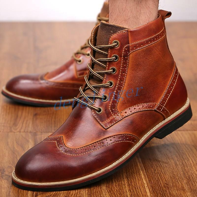 Men's Vintage High Top Lace Up Ankle Brogue Carved Leather Boot Warm Winter Fall