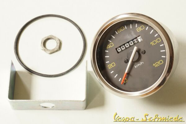 Diplomatisch Vespa Tacho Mit Chrom-ring - Ø 85mm / 120 Km/h - Px / Lusso - Tachometer Halter
