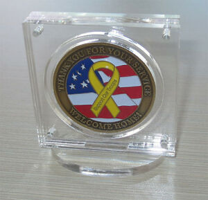 """1.75"""" Challenge Coin Display Holder Case with Stand, w/ Magnetic Fastener"""