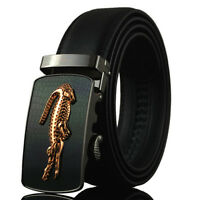 Men Fashion Crocodile Auto Lock Buckle Genuine Leather Casual Waist Strap Belt
