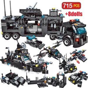 Jeu-de-construction-compatible-Lego-SWAT-Police-Bateau-Helicoptere-Voiture