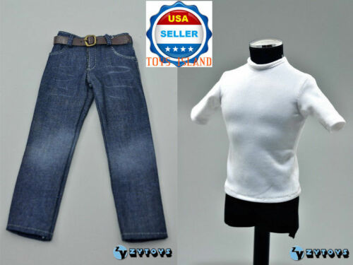 "1//6 Classic Men White T-shirt Jeans Set For 12/"" Hot Toys Ganghood Figure ❶USA❶"
