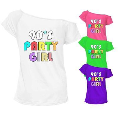 Marchio Popolare Donna 90s Party Girl T-shirt Girocollo Off Spalla Retrò Gallina Vestito 6916lot-mostra Il Titolo Originale