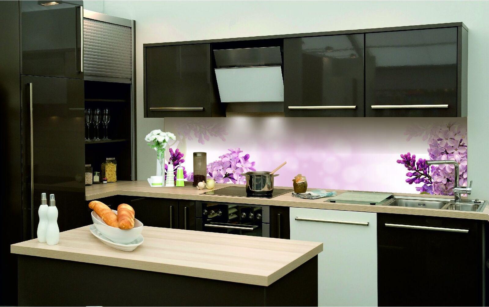 Cocina plano posterior lámina autoadhesiva púrpuras flores kfs186