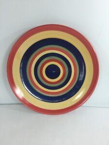 Image is loading Swirl-Dinner-Plate-Vintage-Hand-Painted-Collection-Red- & Swirl Dinner Plate Vintage Hand Painted Collection Red Blue Yellow ...