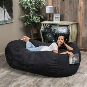 Fabulous Details About 6Ft Bean Bag Suede Microfiber Xl Adult Dorm Oversized Black Lounger Sleeper Ocoug Best Dining Table And Chair Ideas Images Ocougorg