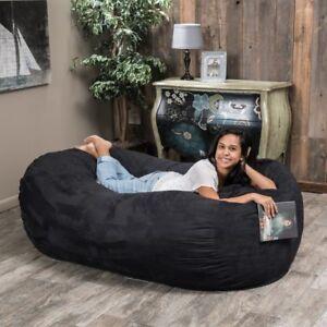 Amazing Details About 6Ft Bean Bag Suede Microfiber Xl Adult Dorm Oversized Black Lounger Sleeper Andrewgaddart Wooden Chair Designs For Living Room Andrewgaddartcom