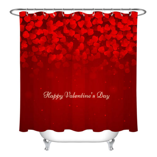 Red Hearts Happy Valentine/'s Day Shower Curtain Bathroom Polyester Fabric Hooks
