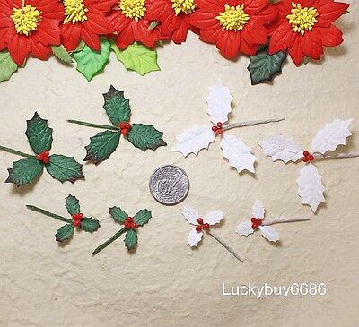 15 Green, Off White Leaves Holly Picks Christmas Scrapbook Craft Mulberry Paper