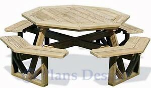 Classic Large Octagon Picnic Table / Bench Woodworking Plans #ODF07 ...