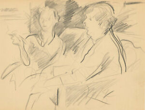 Frank Griffith (1889-1979) - Early 20th Century Graphite Drawing, Afternoon Chat