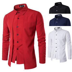 5ff10a0ad63f Men Luxury Slim Fit Formal T-shirts Long Sleeve Office Business ...