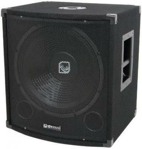QTX 170.750 Disco PA Speaker Bass Box 15in 300w RMS Gold Plated Terminal Schwarz