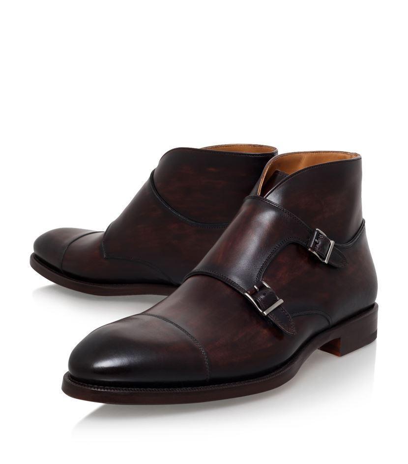 botas para hombre Cuero Marrón Bespoke Doble Monje Correa botas botas de monje formal