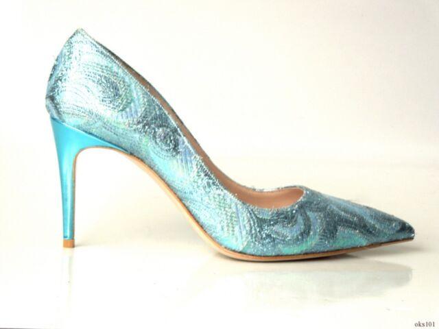 3af4f66be1ba NIB  675 PRADA MIU MIU metallic blue lurex brocade pointy toe shoes 38 8 -  sexy
