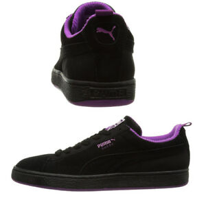 d857f15d9ab Puma Suede Classic Black Purple Leather Lace Up Mens Trainers 355380 ...