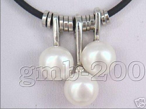 """3PCS blanc naturel d/'eau douce perle et cuir Collier Pendentif 18/"""" Réglable"""