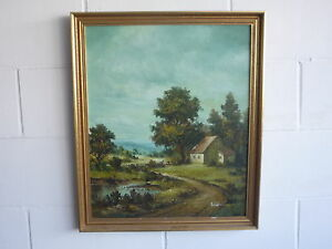 Original-Landscape-Farm-House-Tree-Lake-Oil-Painting-on-Canvas-Signed-Framed
