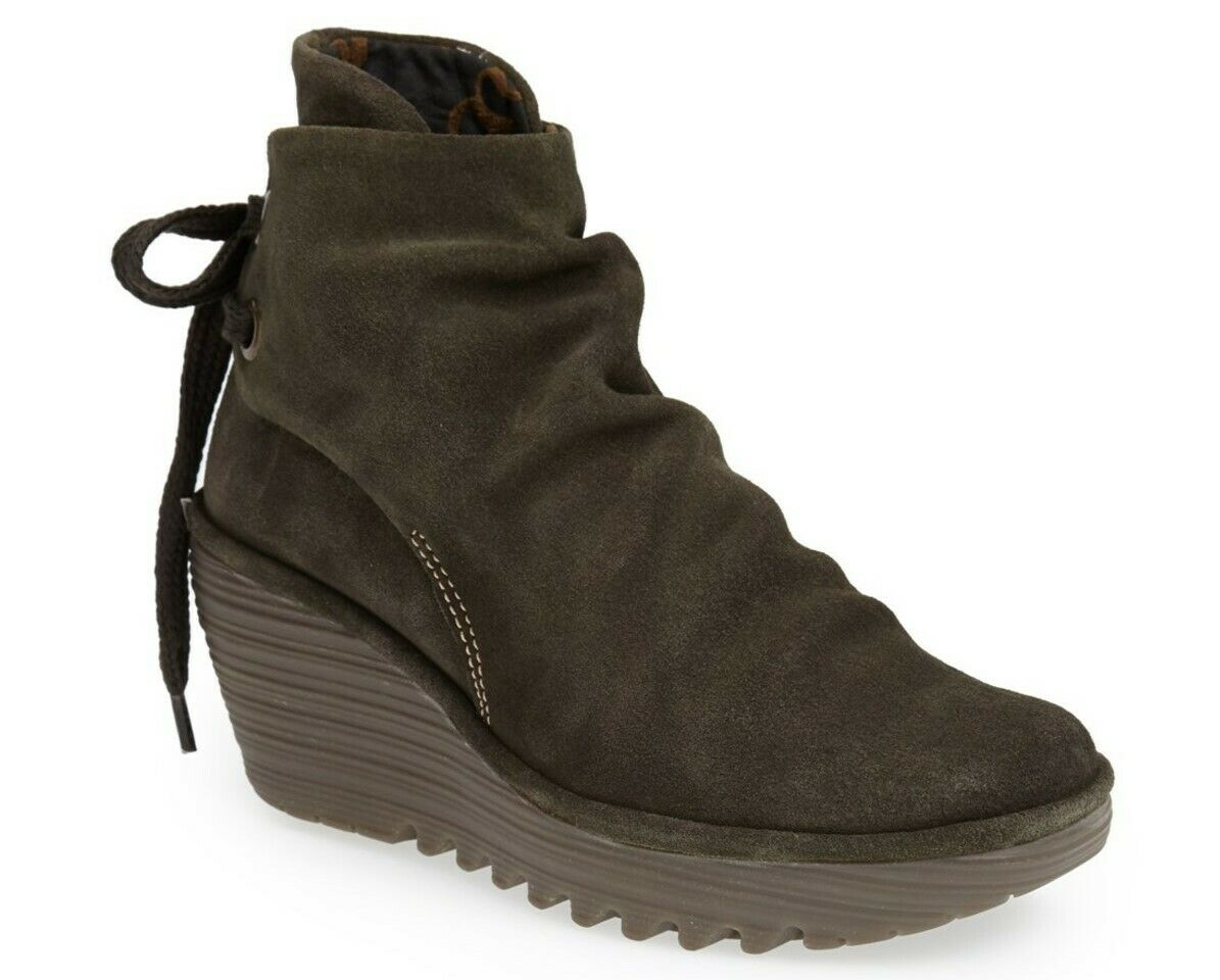 FLY LONDON SHOES YAMA SLUDGE GREEN SUEDE BOOTIES PLATFORM WEDGE ANKLE BOOT 38