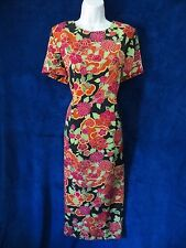 Black Red Orange China Fan Psychedelic Floral Short Sleeve Long Formal Dress 12