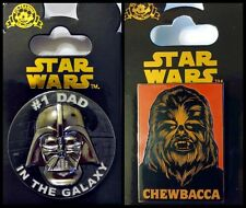 Disney Parks Lot 2 pins Star Wars #1 Dad in the Galaxy Darth Vader + Chewbacca