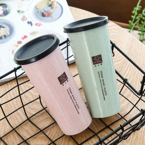 Water Cup With Straw ColaCoffee Cup Wheat Straw Plastic Healthy Drink Bottle /_ne