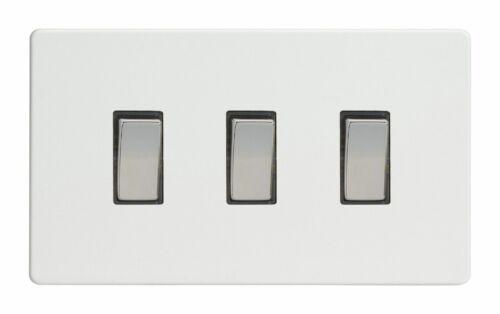 Varilight XDQ93S Screwless Premium White 3 Gang 2 Way Rocker Switch Twin Plate