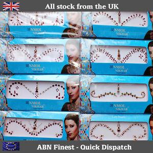Indian Stick on / Sticker Crystal Silver Diamante Bridal Head Bindi Tikka Tattoo